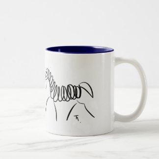 Dressage-PferdeTassen-Blau Zweifarbige Tasse