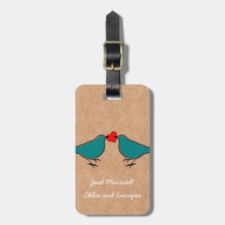 Drosseln und Liebe-Herz-Hochzeit Kofferanhänger
