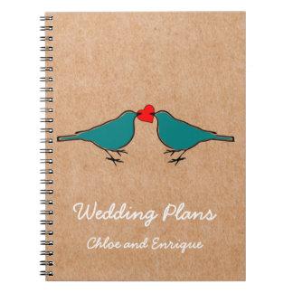Drosseln und Liebe-Herz-Hochzeit Spiral Notizblock