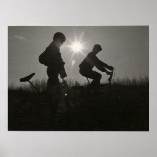 Druck der alte Schule BMX, Silhouette, zwei Themen Poster