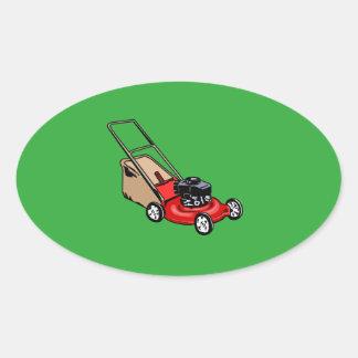 Drücken Sie Rasenmäher-Rot Ovaler Aufkleber