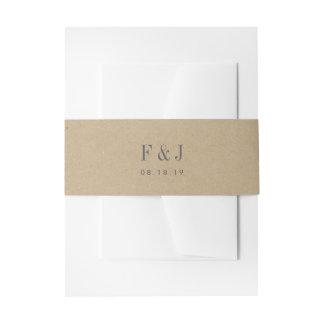 Druckkraftpapier-Monogramm Einladungsbanderole