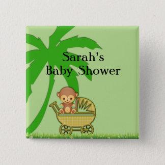 Dschungel-Affe in der Kinderwagen-Babyparty Quadratischer Button 5,1 Cm