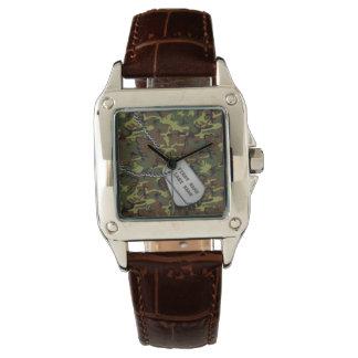 Dschungel-Camouflage mit Hundeplaketten Armbanduhr
