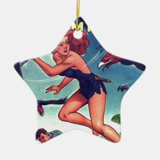 Dschungel-Mädchen und Eigentumswohnung Keramik Stern-Ornament