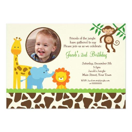 Dschungel-Safari-Foto-Geburtstags-Einladung