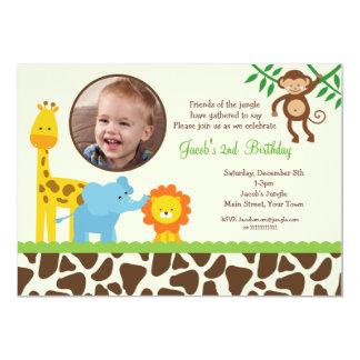 Dschungel-Safari-Foto-Geburtstags-Einladung 12,7 X 17,8 Cm Einladungskarte