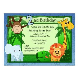 Dschungel-Thema-2. Geburtstag 14 X 19,5 Cm Einladungskarte