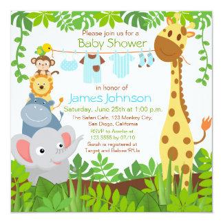 Dschungel Tier Safari Jungen Babyparty Einladung Karte