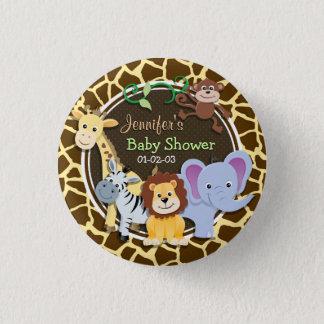 Dschungel-Tiere auf Brown-Giraffen-Tierdruck Runder Button 3,2 Cm