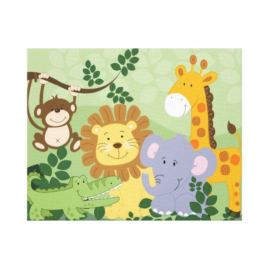Dschungel-Tiersafari-Kinderzimmer-Kunst-Leinwand 1 Leinwanddruck ...