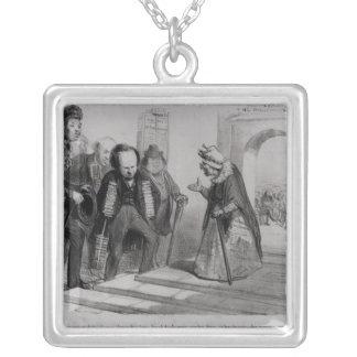 Dumas, Hugo und Balzac, die ihre Aufnahme suchen Halskette Mit Quadratischem Anhänger