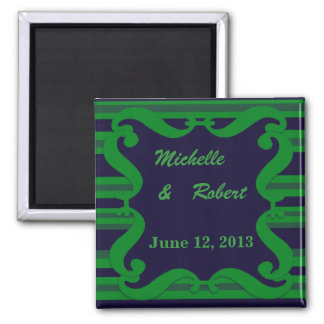 Dunkelblaue grüne gestreifte Hochzeit Quadratischer Magnet