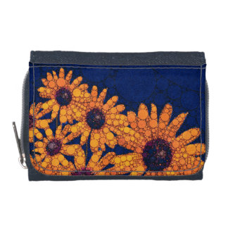 Dunkelblaue Leuchtorange-Sonnenblumen