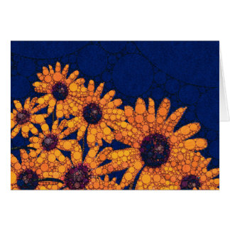 Dunkelblaue Leuchtorange-Sonnenblumen Karte