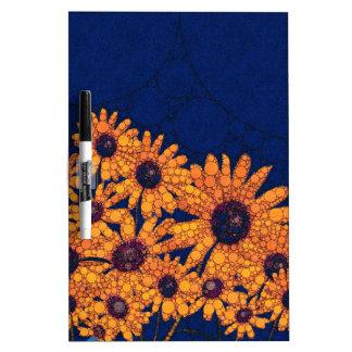 Dunkelblaue Leuchtorange-Sonnenblumen Memo Board