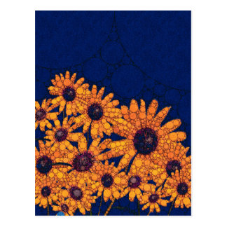 Dunkelblaue Leuchtorange-Sonnenblumen Postkarte