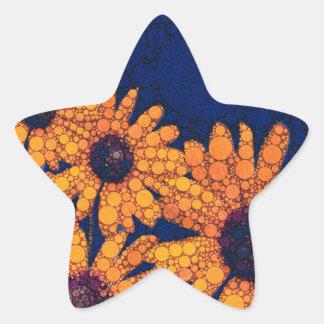Dunkelblaue Leuchtorange-Sonnenblumen Stern-Aufkleber