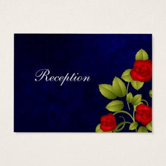 Dunkelblaue und Rosen-Hochzeit - Empfang Visitenkarte