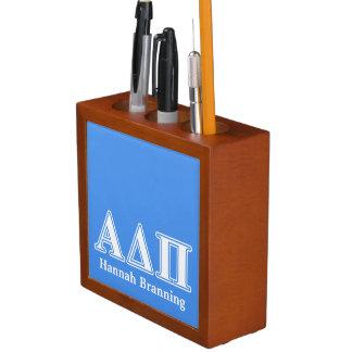 Dunkelblaue und weiße Buchstaben Alphadeltapus Stifthalter