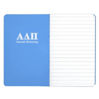 Dunkelblaue und weiße Buchstaben Alphadeltapus Taschennotizbuch