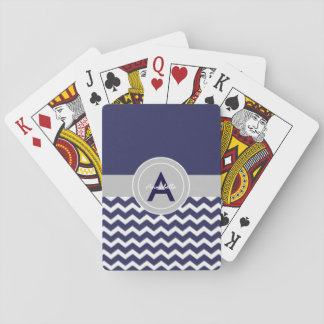 Dunkelblaues graues Zickzack Spielkarten