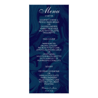 Dunkelblaues MarmorAquarell-Hochzeits-Menü 12,2 X 22,9 Cm Kartendruck