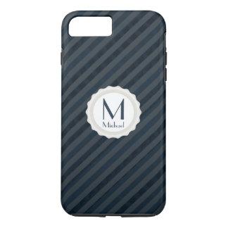 Dunkelblaues u. graues personalisiertes Monogramm iPhone 7 Plus Hülle