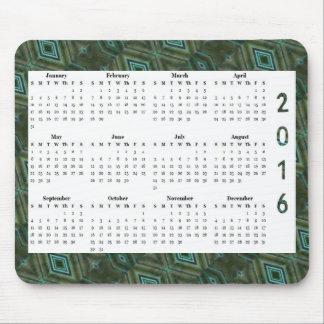 Dunkelgrüne jährlicher Kalender des Mauspad