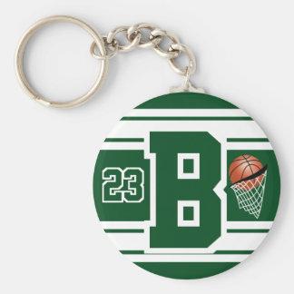 Dunkelgrüner und weißer Basketball-Buchstabe und Schlüsselanhänger