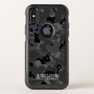 Dunkle Camouflage-Namen-Schablone OtterBox Commuter iPhone X Hülle
