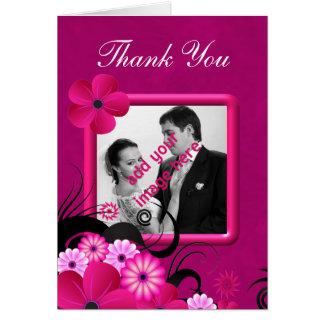 Dunkle Fuschia Hochzeit danken Ihnen Mitteilungskarte