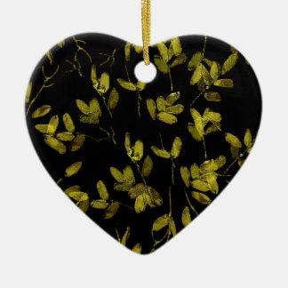 Dunkler Blumendruck Keramik Herz-Ornament