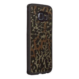 Dunkler Brown schwarzer Cheetah abstrakt Handyhülle Aus Holz