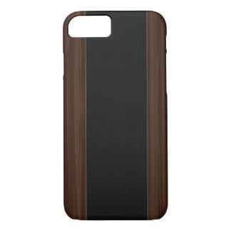 Dunkler Holz-u. Kohlenstoff-Faser-Streifen iPhone iPhone 8/7 Hülle