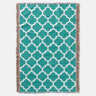 Dunkles aquamarines weißes Marokkaner Quatrefoil Decke