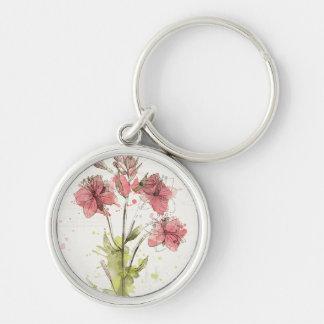 Dunkles rosa mit Blumenspritzen Silberfarbener Runder Schlüsselanhänger