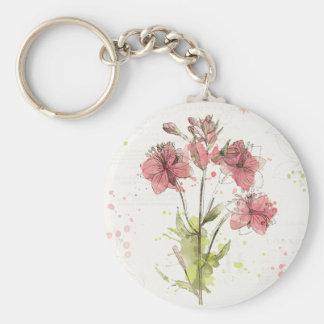 Dunkles rosa mit Blumenspritzen Standard Runder Schlüsselanhänger