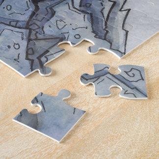 Dunkles Schloss-Puzzle vom unwirklichen Anwesen Puzzle