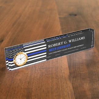 Dünne Blue Line-Flagge-kundenspezifisches Schreibtischplakette