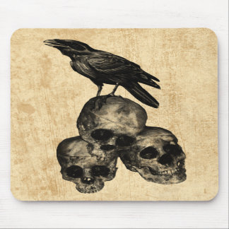 Dünne Überbleibsel-Krähen-Schädel-gotische Kunst Mousepad