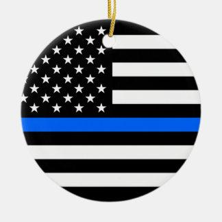"""DÜNNES BLUE LINE AUF AMERIKANISCHER FLAGGE "" KERAMIK ORNAMENT"