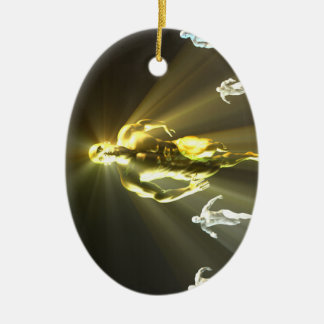 Durch antreiben und keine Grenzen als Konzept Ovales Keramik Ornament