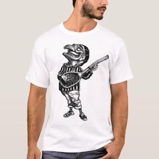 Durchschlag, der die Luftgitarre auf einem T-Shirt
