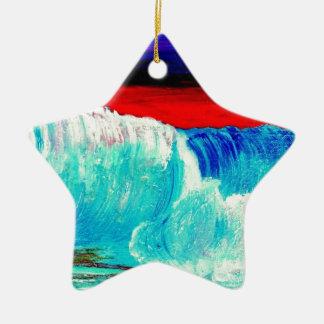 Düstere Wellen Keramik Stern-Ornament