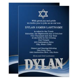 Dylanstahlwellen-Namen-Bar Mitzvah 12,7 X 17,8 Cm Einladungskarte