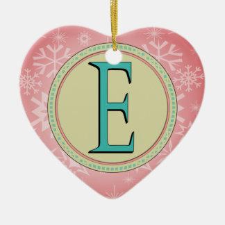 E-MONOGRAMM-BUCHSTABE KERAMIK Herz-Ornament
