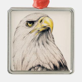 Eagle Quadratisches Silberfarbenes Ornament