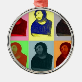 Ecce Homo - Pop-Kunst-Art Rundes Silberfarbenes Ornament