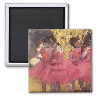 Edgar Degas der rosa Tänzer-Magnet Quadratischer Magnet